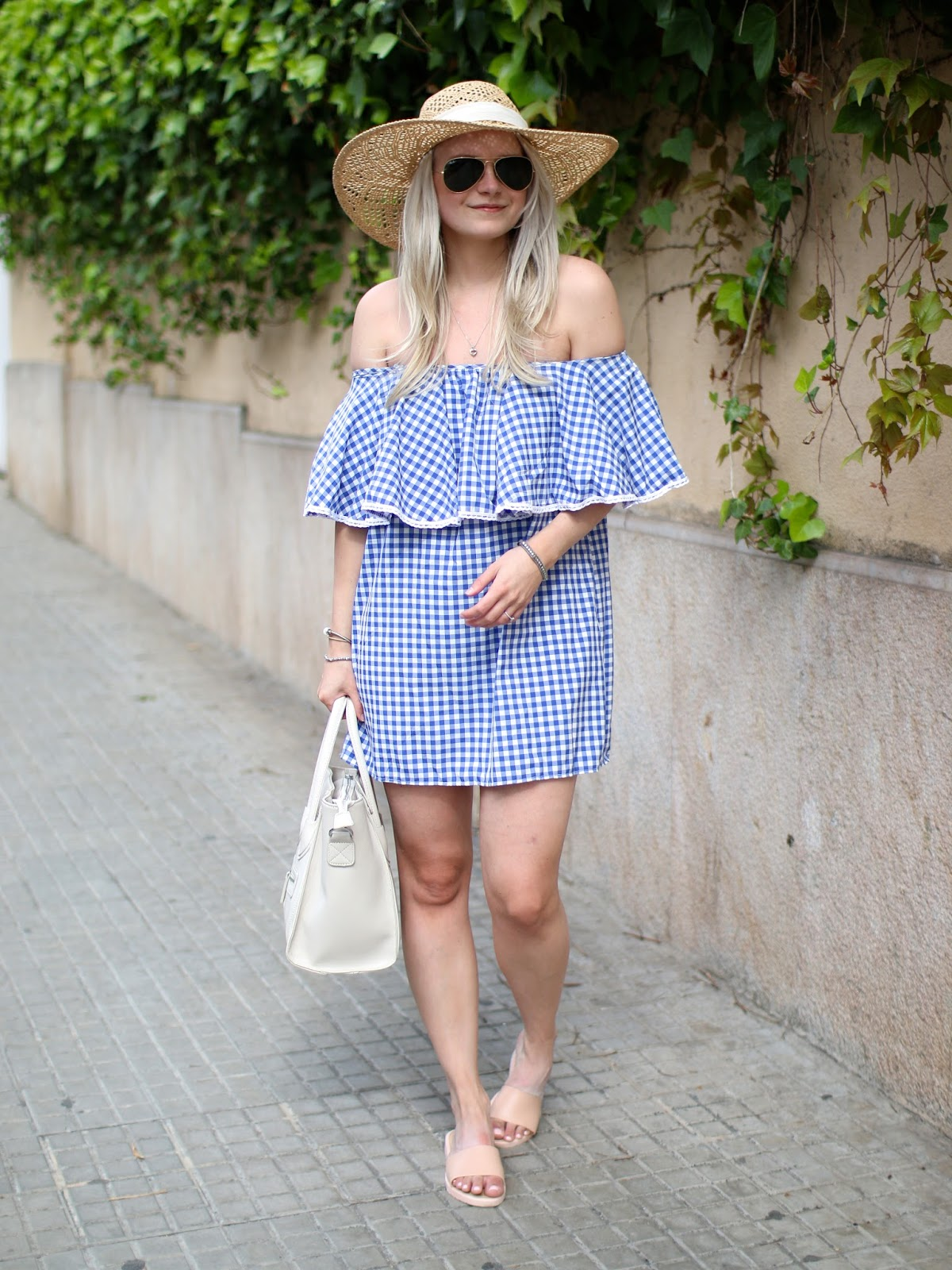 blue off the shoulder dress from sheinside