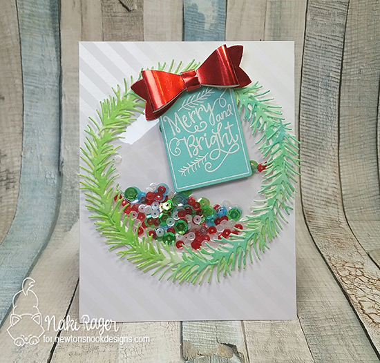 Wreath Shaker Card by Naki Rager | Inky Paws Challenge 38 | Pines & Holly Die Set and Joyful Tags Stamp Set by Newton's Nook Designs #newtonsnook