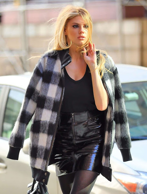 Charlotte McKinney in Leather Skirt out in New York
