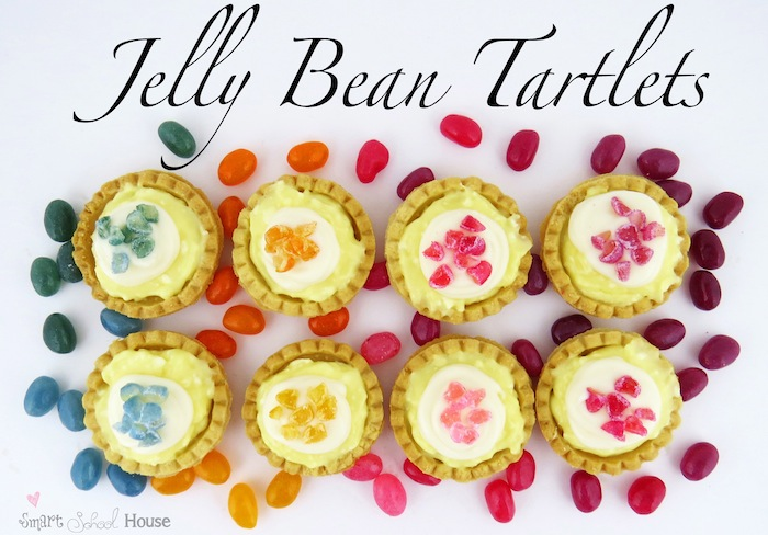 Teeny tiny tartlets topped with bits of jelly bans #dessert #jellybean #diy