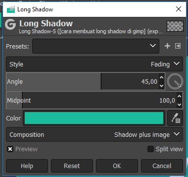 Style fading long shadow pada gimp
