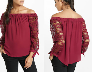 Express Off the Shoulder lace Tie Sleeve Blouse. Favourite off the shoulder fashion style
