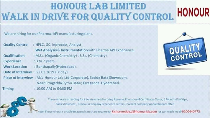 Honour Lab Limited Walk-In Drive For Quality Control On 22