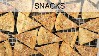 Image of sheet pan of pita chips, a recipe index link to Snacks page.