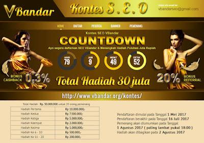 Kontes SEO Vbandar 30 Juta Bulan Mei Sampai Juli