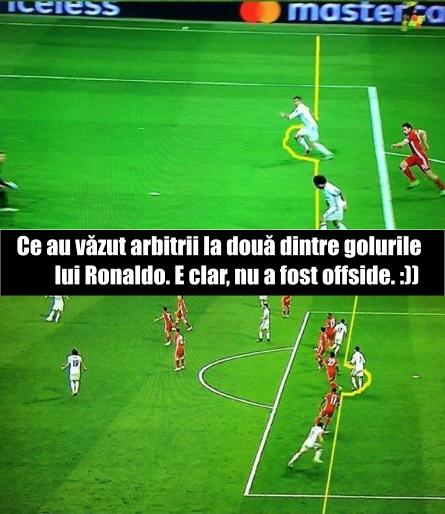 De ce nu a fost offside la golurile lui Ronaldo