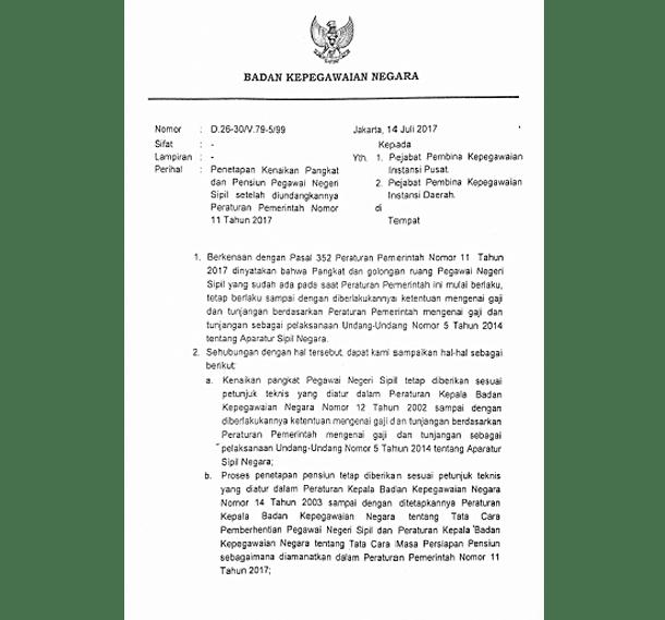 Surat Edaran Kepala BKN No D-26-30/V/99 Tentang Penetapan Kenaikan Pangkat dan Pensiunan PNS Setelah Diundangkannya PP No 11 Tahun 2017