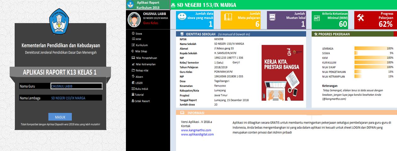 Aplikasi Rapor Sd Kurikulum 2013 Revisi 2018 Kelas 1 2 3 4 5 Dan 6 Infoguruku