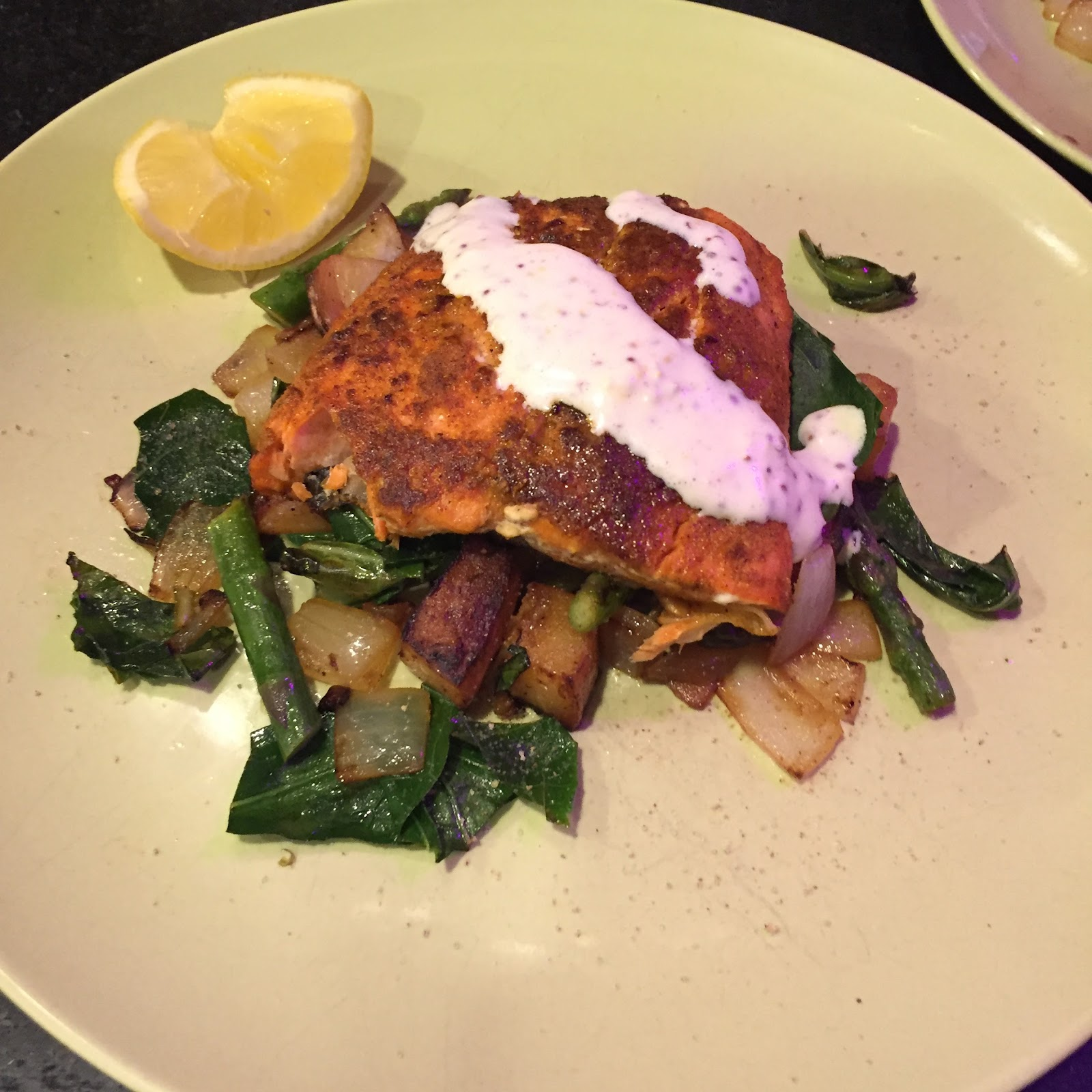 Blue apron spinach pizza - Seared Salmon And Lemon Aoli With Red Potatoes Asparagus And Collard Green Hash Blue Apron Wednesday Pizza