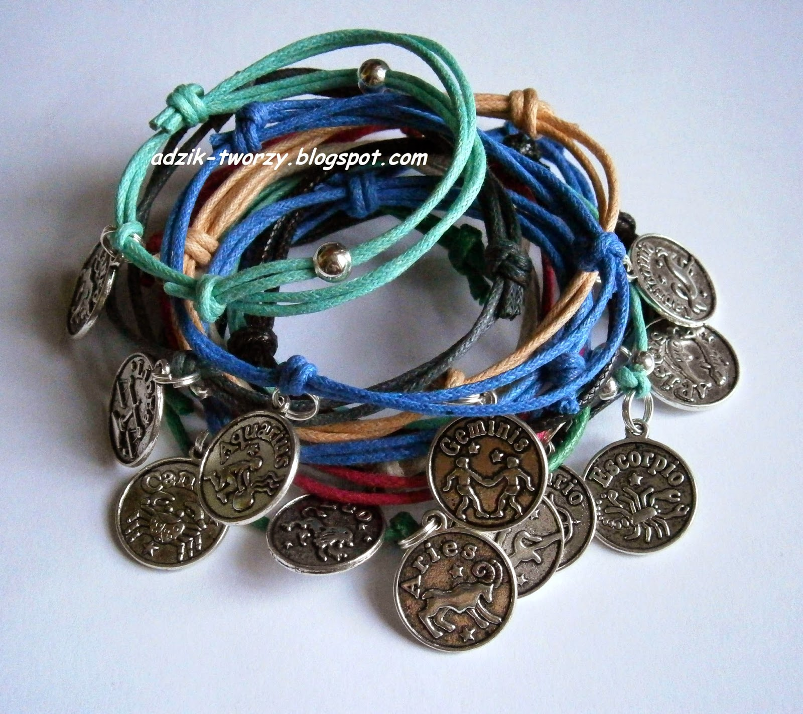 Rzemykowe bransoletki - 12 znaków Zodiaku