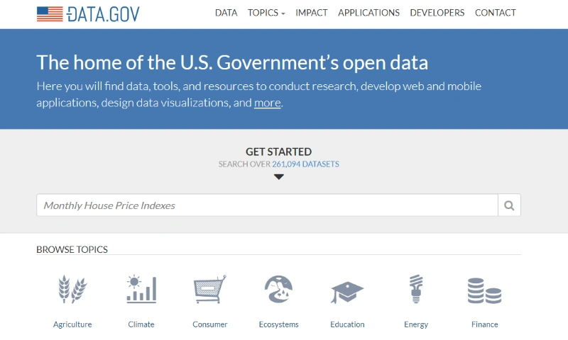 national open data portal of the United States