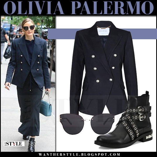 Olivia Palermo in navy blazer camilla and marc, maxi skirt and ankle boots miu miu what she wore may 26 2017