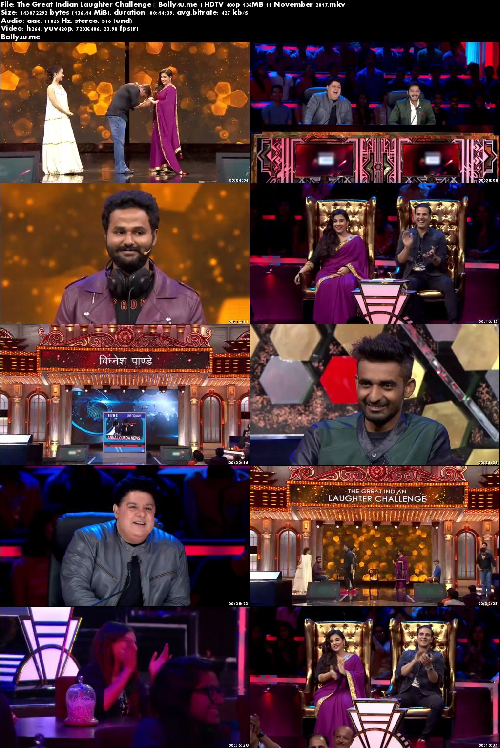 The Great Indian Laughter Challenge HDTV 480p 140MB 11 November 2017 Download