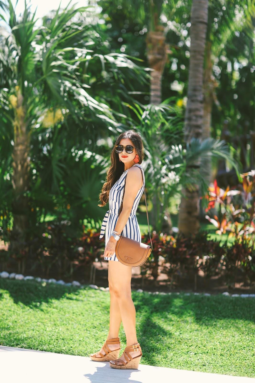 Emily gemma, the sweetest thing blog, ASTR striped romper, tory burch serif saddle bag, excellence playa mujeres, brunette balayage, karen walker super duper tortoise sunglasses, spring fashion pinterest, pinterest outfit ideas,