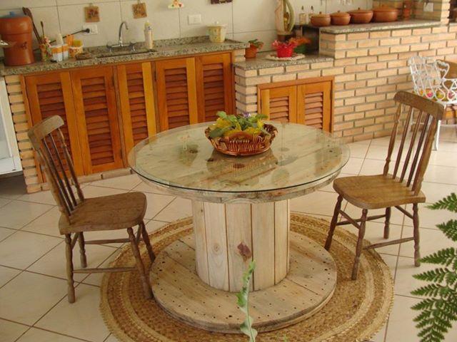fika a dika por um mundo melhor carretel de madeira na decora o. Black Bedroom Furniture Sets. Home Design Ideas