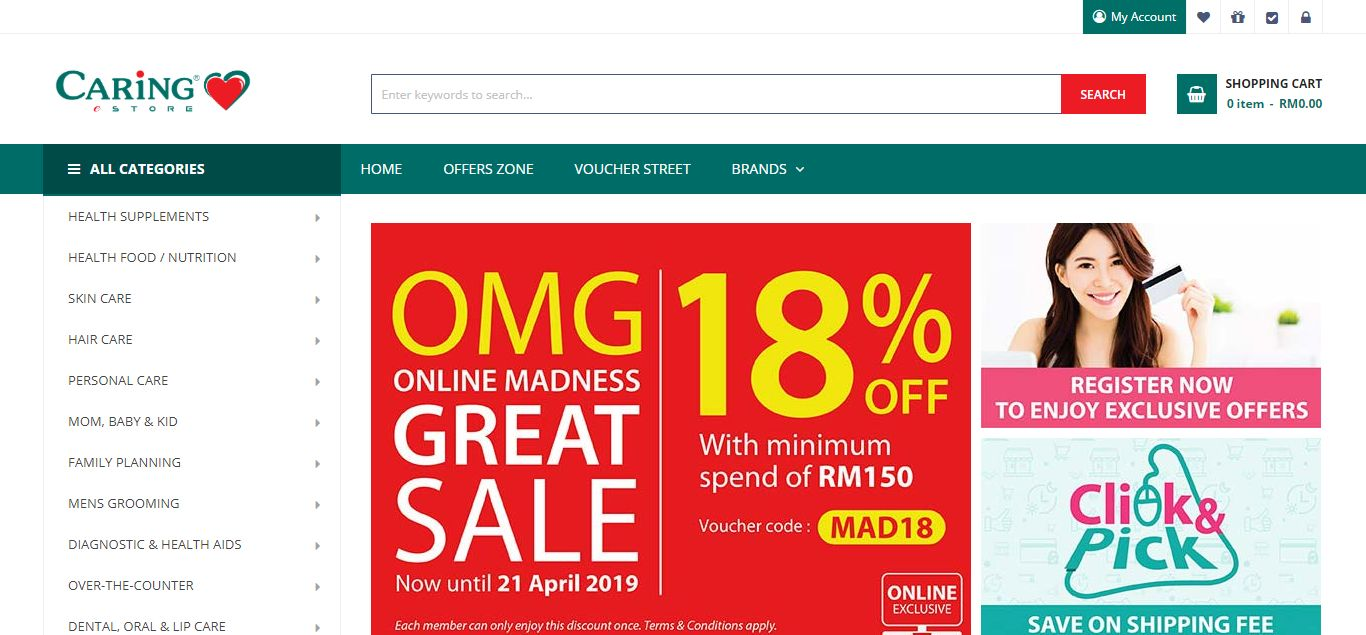 Caring Pharmacy e-commerce