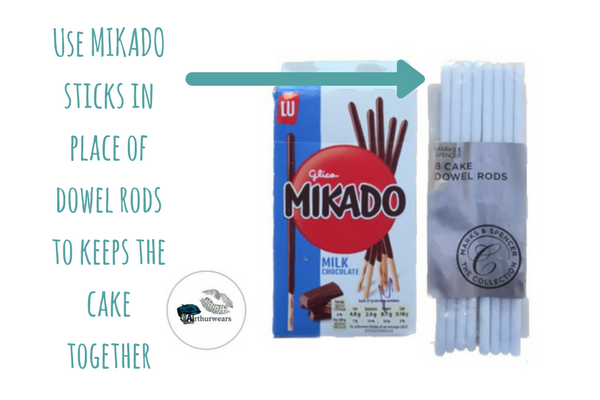 you will need mikado sticks or cake dowels to make the blue bin lorry recycling garbage truck birthday cake