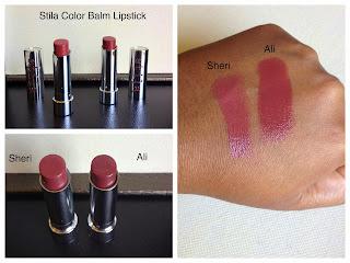 stila color balm lipsticks in ali and sheri swatched on dark skin