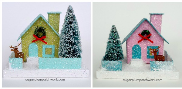 green and pink glitter houses with trees