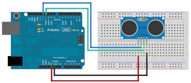 Rangkaian Membaca Jarak Sensor Ultrasonic ditampilkan ke Serial Monitor dengan Arduino
