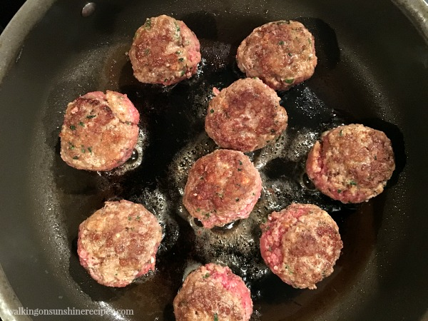 Meatballs cooking in the pan from Walking on Sunshine