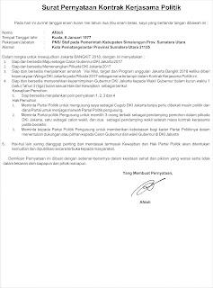 Surat Pernyataan Kontrak Kerjasama Politik Menghadapi Pilkada DKI Jakarta 2017