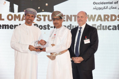 Mahir Al-Wahaibi one of the recipients of The 2016 OXY Oman Student Awards for the Advancement of Post-Graduate Education  L-R: H.E. Salim Al Aufi, Undersecretary, Ministry of Oil and Gas, Oman; Mahir Al-Wahaibi; Steve Kelly President & General Manager, Occidental Oman