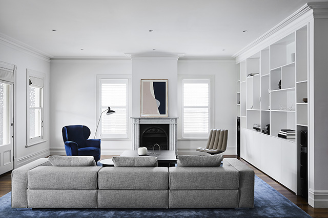 Minimalist Lines Bold Shapes And Grand Scales Bring A Modern Edge To The Original Architecture While Regal Colour Palette Invigorates Space