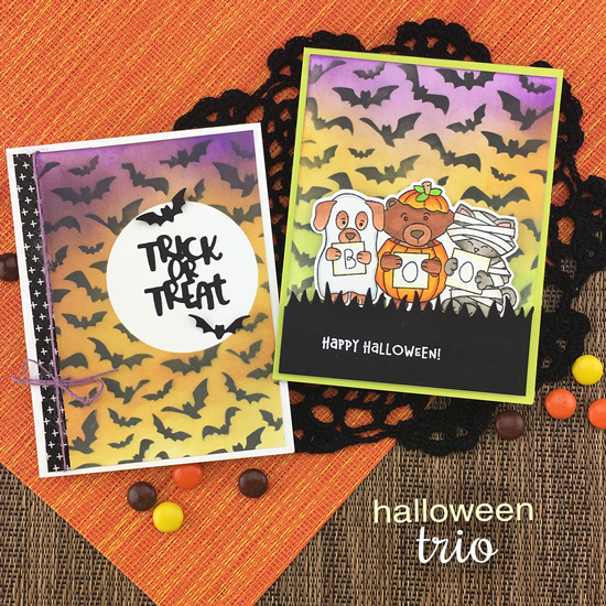 Halloween Card by Jennifer Jackson | Halloween Trio Stamp Set and Die set and Flying Bats Stencil by Newton's Nook Designs #newtonsnook #handmade