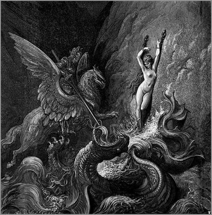 Image result for ruggiero rescuing angelica by gustave doré