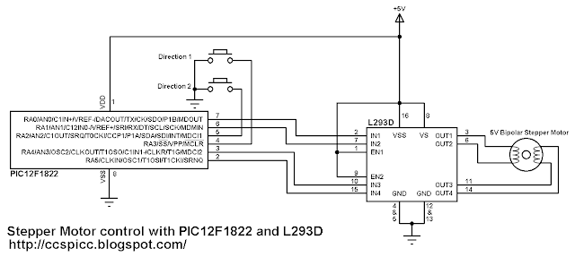 Bipolar Stepper Motor Control Using Pic12f1822 And L293d