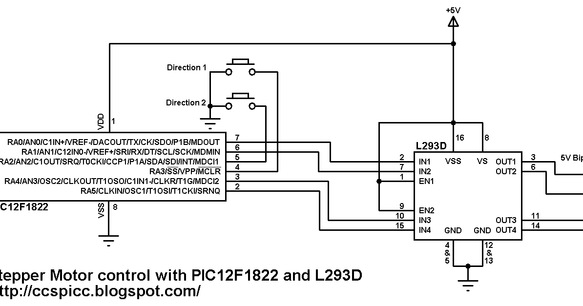 Bipolar stepper motor control using pic12f1822 and l293d for Bipolar stepper motor driver circuit