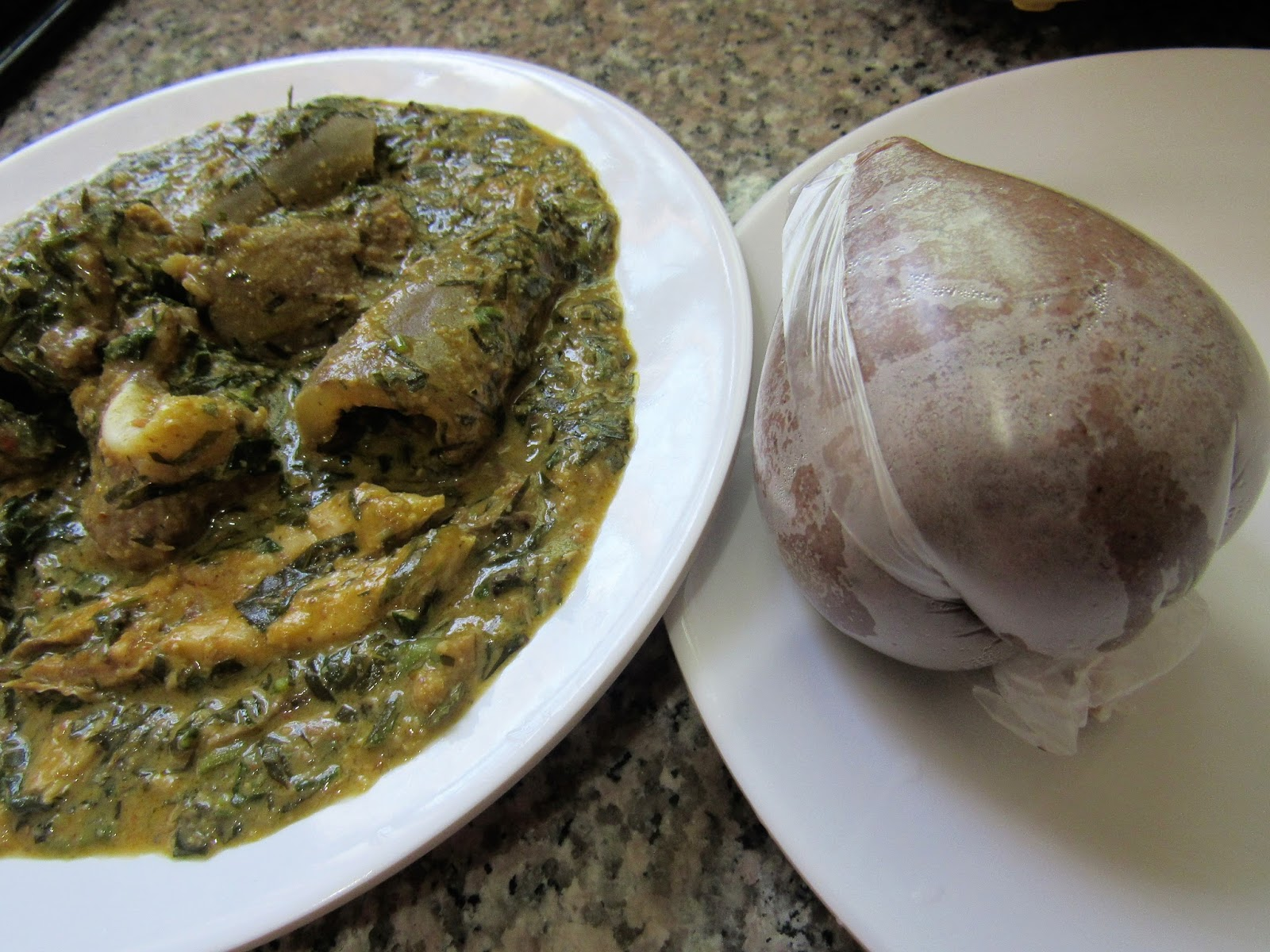 Nigerian soup with dry afang and groundnut