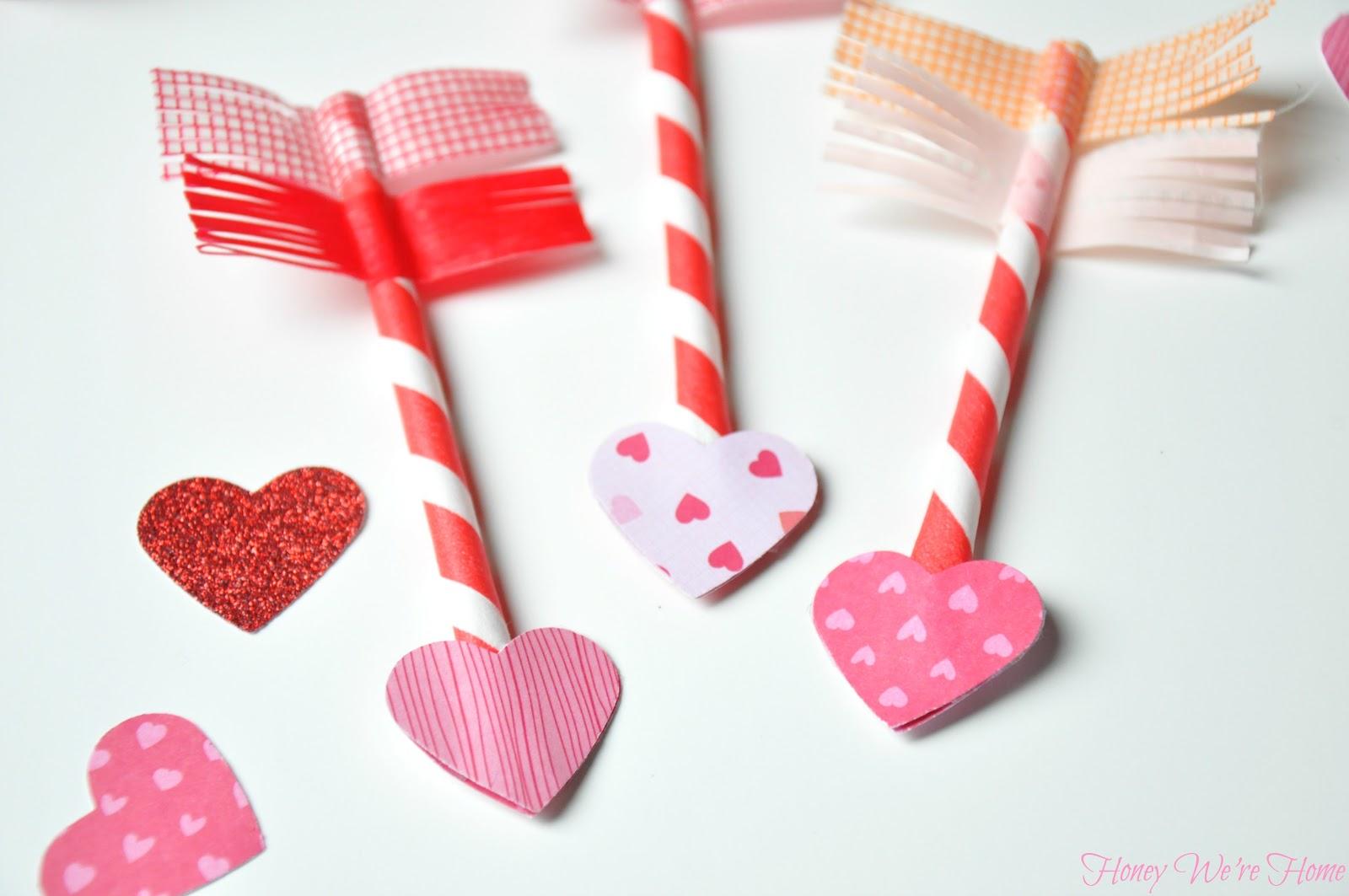 Valentine S Day Craft Paper Straw Amp Washi Tape Arrows