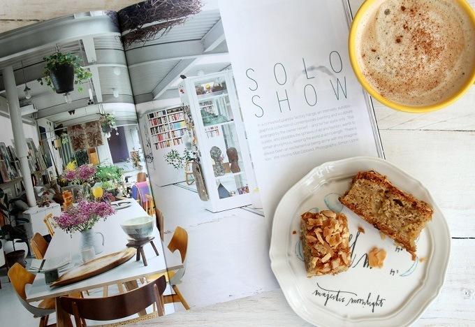 Interiors magazine and Anthropologie yellow mug