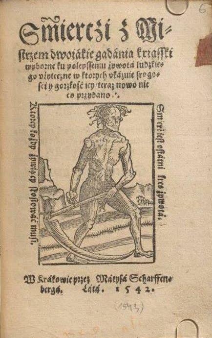 Karta tytułowa dzieła Śmierci z Mistrzem dwojakie gadania... (Rozmowa Mistrza Polikarpa ze Śmiercią), wydanego nakładem Macieja Scharffenberga - domena publiczna (Źródło: Wikipedia.org)