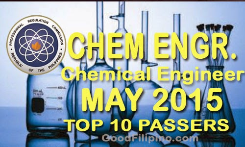 TOP 10 Passers: May 2015 Chemical Engineer Board Exam Passers