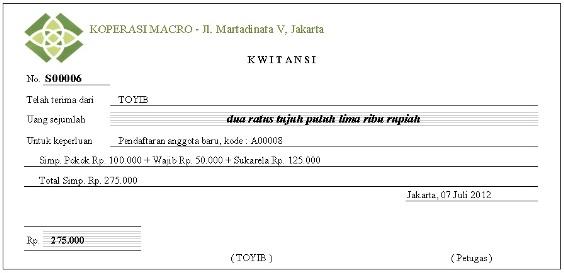 Contoh Kwitansi Koperasi Modif R