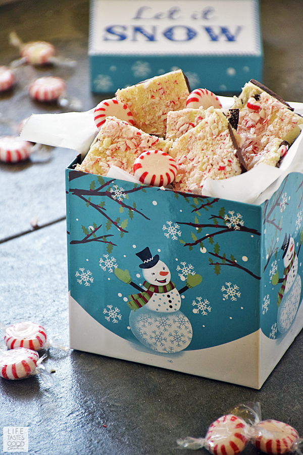 Peppermint Bark Candy diy homemade gift box