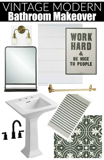 vintage modern bathroom design board