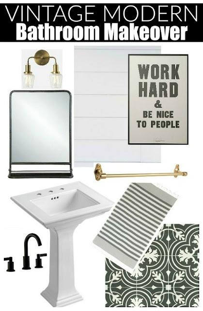 vintage modern bathroom design board