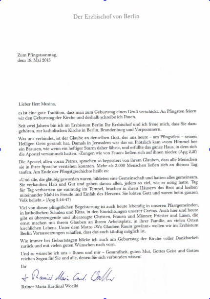 Letter from the Archdiocese of Berlin