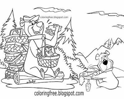 Family camping Yellowstone Yogi bear park picnic coloring sheets for children USA cartoon characters