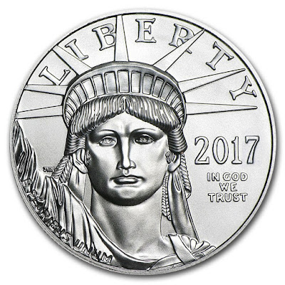 20th anniversary edition American eagle in platinum showing lady liberty side