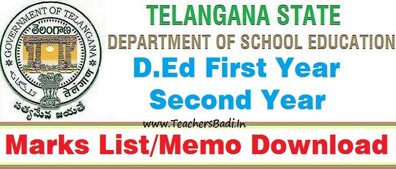 TS D Ed First Second Year Marks List Memos Download TeachersBADI In