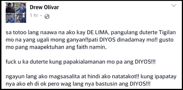 Drew Olivar curses Duterte, gets bashed by netizens