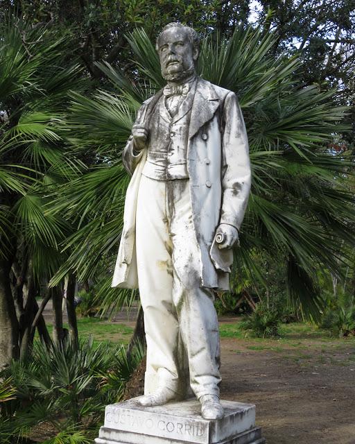 A statue of Gustavo Corridi in the park of Villa Fabbricotti, a work by the sculptor Vincenzo Cerri, Livorno