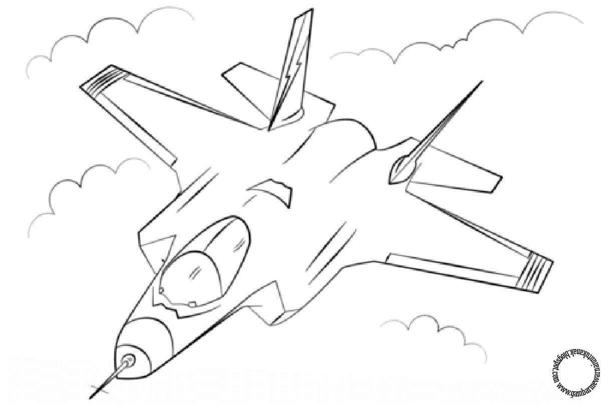 Gambar Mewarnai Pesawat Tempur Untuk Anak Gambar