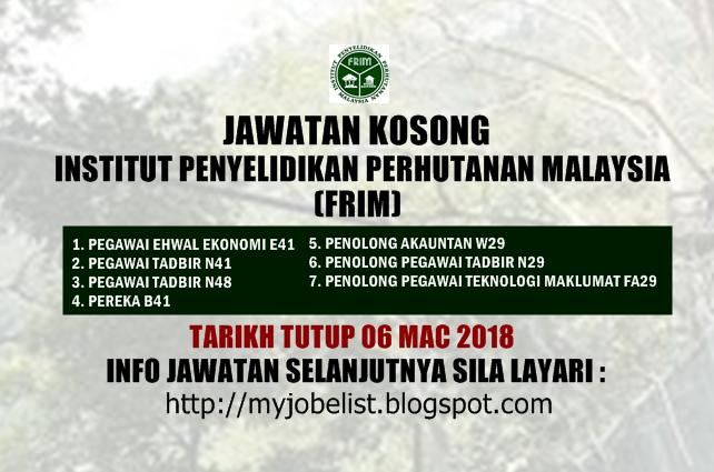 Jawatan Kosong Kerajaan Terkini di FRIM Mac 2018