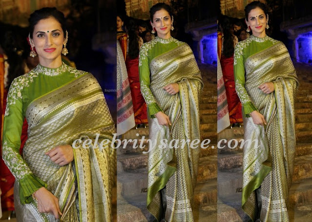 Shilpa Reddy in Neon Green Benaras Saree
